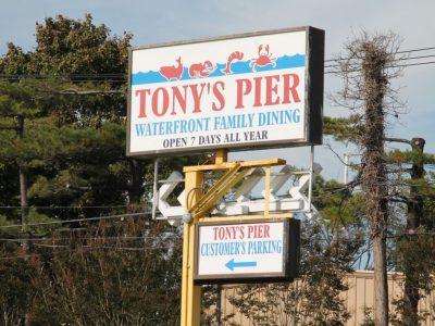 Tony's Pier Restaurant street sign